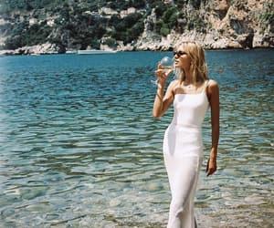 beach, girl, and white image