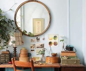 desk, mirror, and vintage image