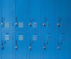 blue, aesthetic, and lockers image