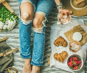 drink, jeans, and pink image