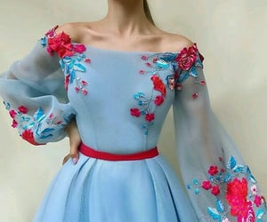 dress, blue, and red image