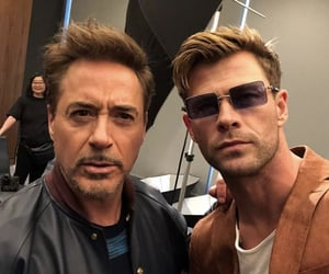 chris hemsworth, Marvel, and robert downey jr image