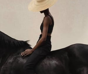 girl, hat, and horse image