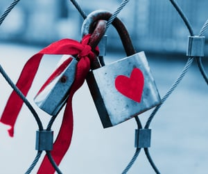 couple, lock, and love image