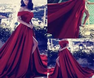 red prom dresses, cheap prom dress, and satin prom dress image