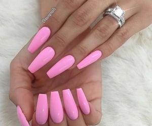 nails, nailpolish, and pink image
