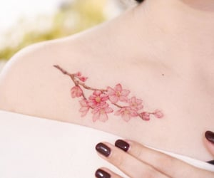 flowers, sakura, and tattoo image