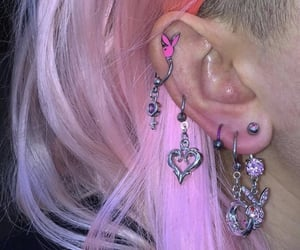 earrings, pink, and piercing image