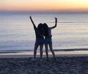 beach, sunrise, and cousin image