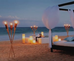 beach, tropical, and candles image