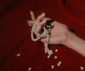 red, pearls, and aesthetic image