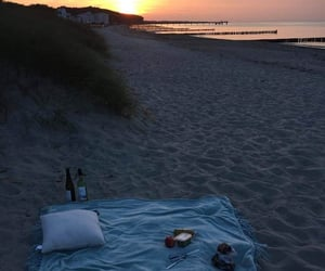 sunset, beach, and picnic image