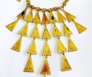 art deco, bib necklace, and gold plated image