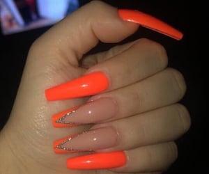 acrylic, nails, and orange image