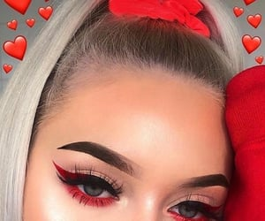 red, makeup, and eyes image