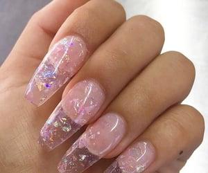 glitter, manicure, and pink image