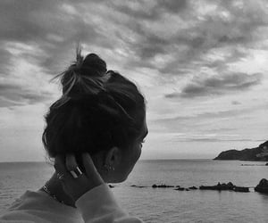 girl, sea, and b&w image