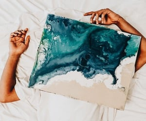 art, beach, and waves image