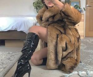 fashion, faux fur, and fur coat image