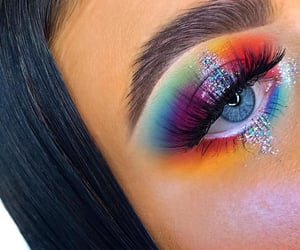 blue eyes, glitter, and makeup image