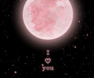 sky, pink moon, and love image