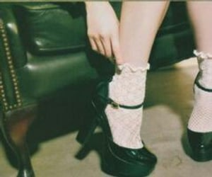 armchair, black shoes, and lolita image