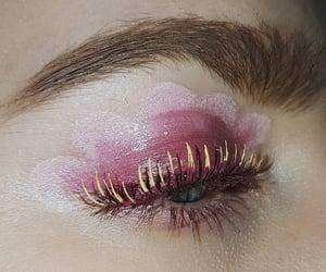 eye makeup, eye, and flower image