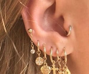 earrings, fashion, and piercing image