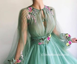 dress, green, and long image