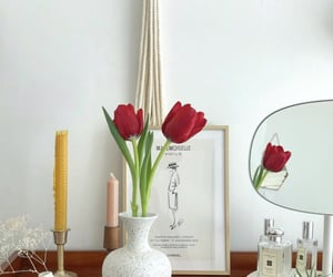 beige, red flowers, and white image