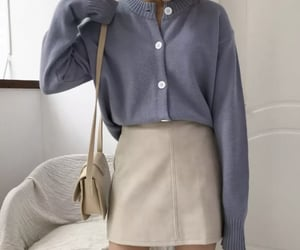 beige, blue, and cardigan image