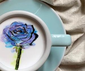 art, blue, and cafe image