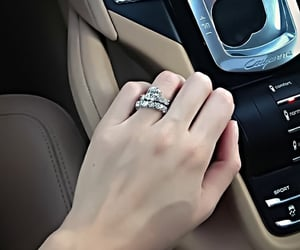 car, rings, and engagement image