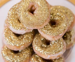 donuts, gold, and food image