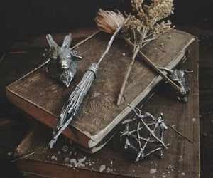 witch, book, and herbs image