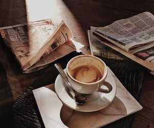 coffee, aesthetic, and newspaper image