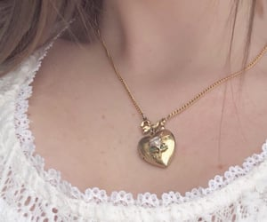 necklace, girl, and gold image