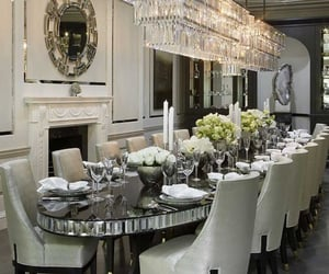 dining room table, home house mansion, and chairs glass mirror image