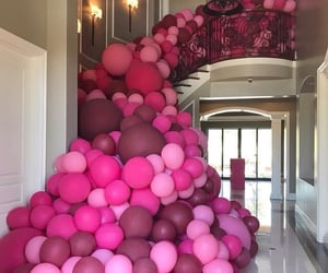 balloons, outfit, and pink image