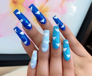 blue, blue nails, and clouds image