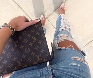 clutch, denim, and louboutins image
