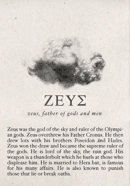Zeus, mythology, and aesthetic image