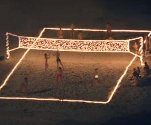 beach, lights, and night image