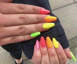 colourful, nails, and orange image