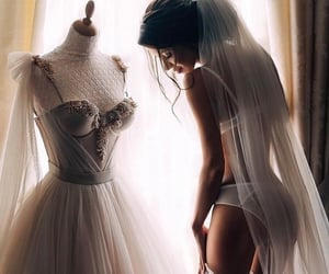 wedding, girl, and dress image