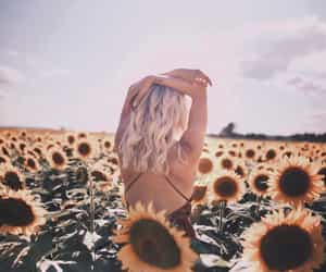 blonde girl, bohemian, and flowers image