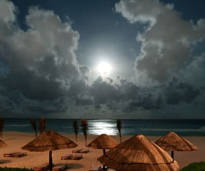 clouds, moonlight, and paradise image