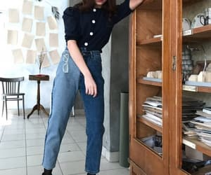 high-waisted, outfit, and darkblue image