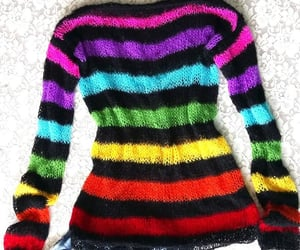 off the shoulder, colorful sweater, and rainbow sweater image