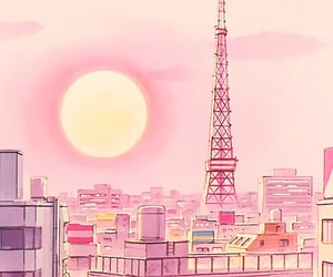 anime, city, and pink image